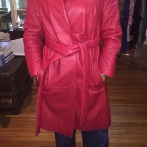 Oscar De La Renta Red Leather Coat